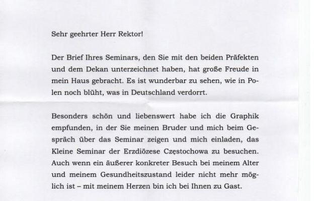 List od Benedykta XVI