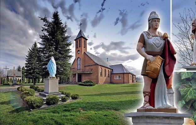Kościół z zewnątrz. Figura św. Floriana