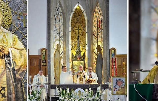Ołtarz główny witrażowy ze św. Józefem i Matką Bożą adorującymi Jezusa obecnego w tabernakulum.