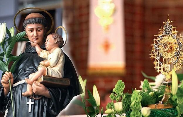 Figura św. Antoniego i relikwie w klasztorze Franciszkanów w Jaśle