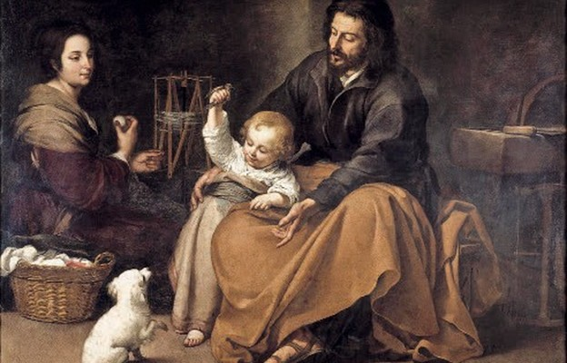Obraz hiszpańskiego malarza Święta Rodzina z ptaszkiem przedstawia Świętą Rodzinę w typowej, domowej scenerii