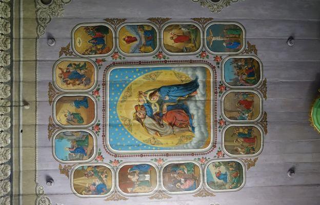 Polichromia na stropie nawy kościoła w Nidku.