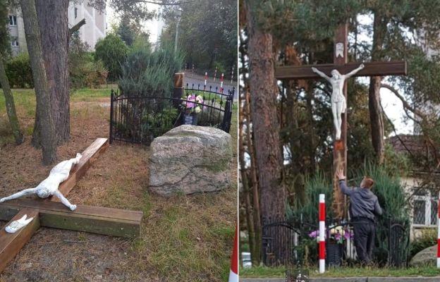 Sprawca zarejestrował na nagraniu moment profanacji krzyża i zamieścił je na facebooku.